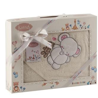 Полотенце-конверт для новорожденных Karna BAMBINO-SLON хлопковая махра молочный