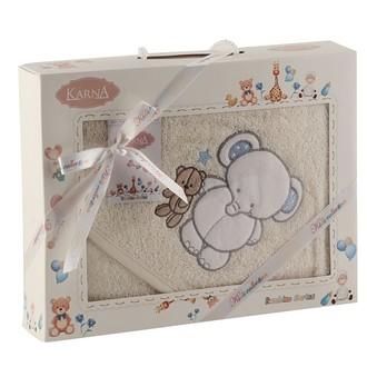 Полотенце-конверт для новорожденных Karna BAMBINO-SLON хлопковая махра (кремовый)