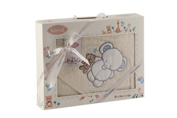 Полотенце-конверт для новорожденных Karna BAMBINO-SLON хлопковая махра (кремовый), фото, фотография