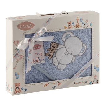 Полотенце-конверт для новорожденных Karna BAMBINO-SLON хлопковая махра голубой