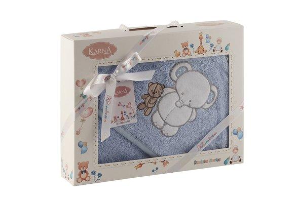 Полотенце-конверт для новорожденных Karna BAMBINO-SLON хлопковая махра (голубой), фото, фотография