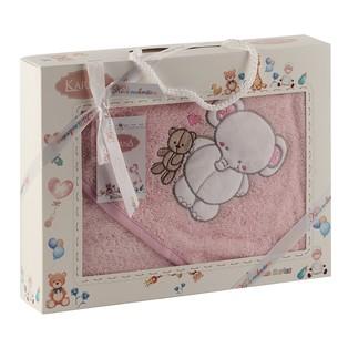 Полотенце-конверт для новорожденных Karna BAMBINO-SLON хлопковая махра розовый