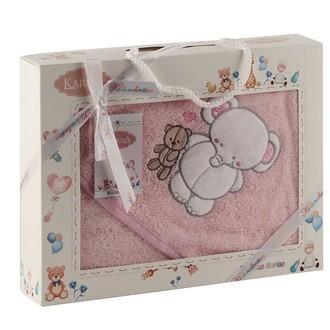 Полотенце-конверт для новорожденных Karna BAMBINO-SLON хлопковая махра (розовый)