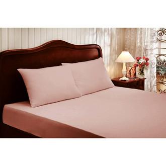 Простынь с наволочками Tivolyo Home хлопковый сатин deluxe (тёмно-розовый)