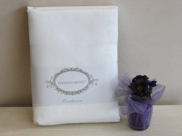 Простынь на резинке с наволочками Tivolyo Home хлопковый сатин делюкс белый 160*200+30, фото, фотография