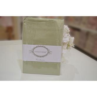 Простынь на резинке с наволочками Tivolyo Home хлопковый сатин делюкс зелёный