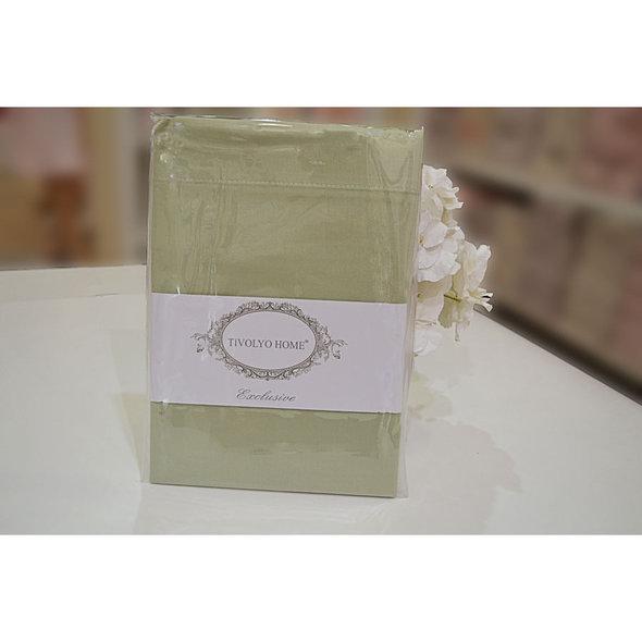 Простынь на резинке с наволочками Tivolyo Home хлопковый сатин делюкс (зелёный) 160*200+30, фото, фотография