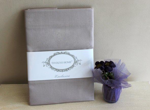 Простынь на резинке с наволочками Tivolyo Home хлопковый сатин делюкс коричневый 100*200+30, фото, фотография