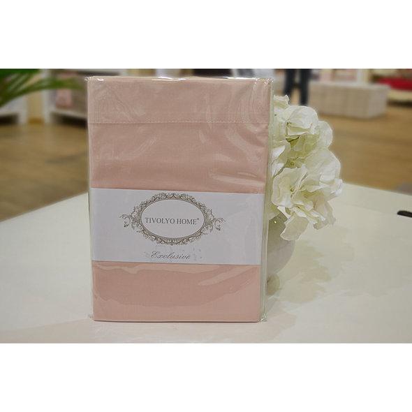 Простынь на резинке с наволочками Tivolyo Home хлопковый сатин делюкс розовый 180*200+30, фото, фотография
