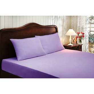 Простынь на резинке с наволочками Tivolyo Home хлопковый сатин делюкс (фиолетовый)