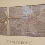Скатерть прямоугольная с салфетками Tivolyo Home DAHLIA жаккард бежевый 160х260, фото, фотография