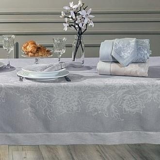 Скатерть прямоугольная с салфетками Tivolyo Home DAHLIA жаккард серый