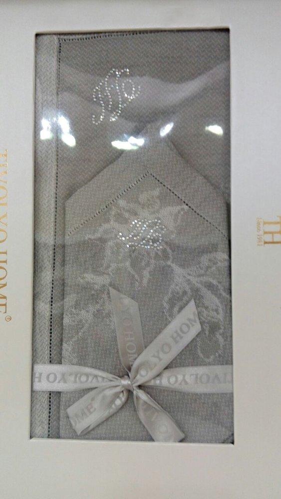 Скатерть прямоугольная с салфетками Tivolyo Home DAHLIA жаккард серый 160*260, фото, фотография