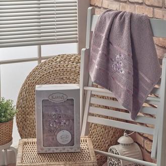 Полотенце банное в подарочной упаковке 50*90 Karna PAPILON махра хлопок (светло-лавандовый)