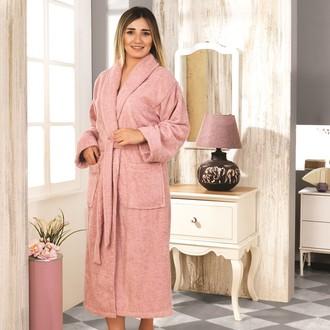 Халат женский Karna BASIC хлопковая махра (грязно-розовый)