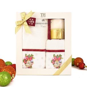 Набор полотенец для ванной 2 пр. со свечой Tivolyo Home RIBBON VELVET хлопковая махра