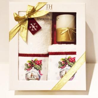 Набор полотенец для ванной 2 пр. со свечой Tivolyo Home SNOWBELL VELVET хлопковая махра