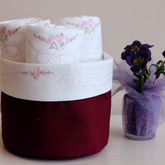 Набор кухонных полотенец 3 шт. Tivolyo Home RIBBON хлопковая вафля (бордовый)