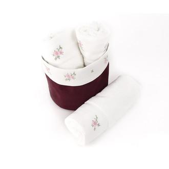 Набор кухонных полотенец 3 шт. Tivolyo Home ROSELLA хлопковая вафля бордовый