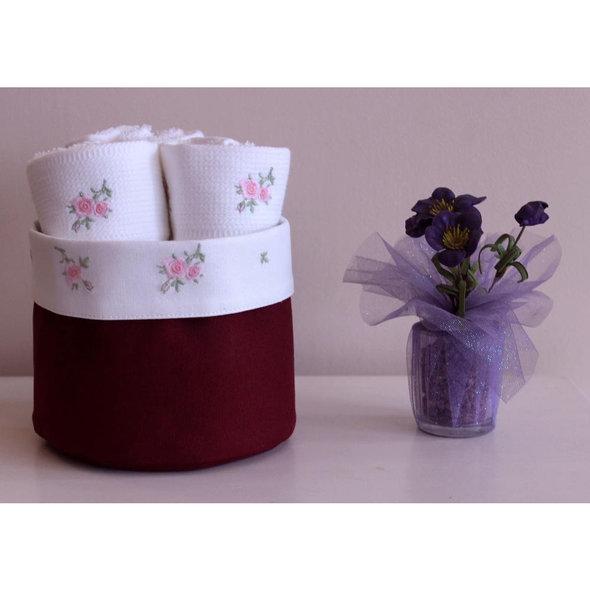 Набор кухонных полотенец 3 шт. Tivolyo Home ROSELLA хлопковая вафля бордовый, фото, фотография