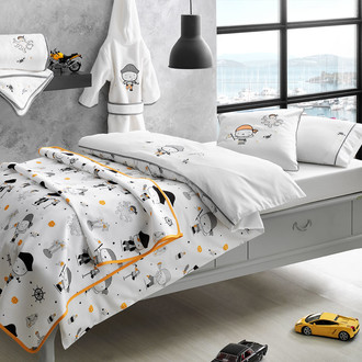 Комплект детского постельного белья в кроватку с вышивкой с пледом-пике Tivolyo Home PIRATES хлопковый сатин делюкс
