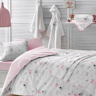 Комплект детского постельного белья в кроватку с пледом-пике Tivolyo Home MISS BALERINE хлопковый сатин делюкс