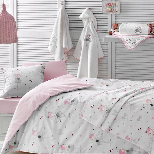 Комплект детского постельного белья в кроватку с пледом-пике Tivolyo Home MISS BALERINE хлопковый сатин делюкс, фото, фотография