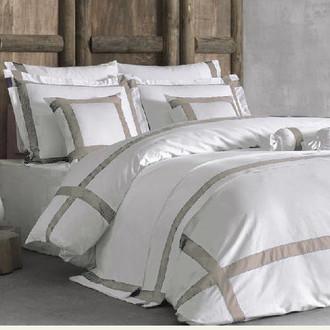 Комплект постельного белья Tivolyo Home BANDA хлопковый люкс-сатин (кремовый+бежевый)