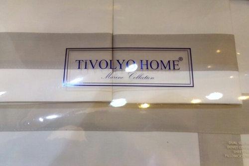 Постельное белье Tivolyo Home BANDA хлопковый люкс-сатин кремовый+бежевый семейный, фото, фотография