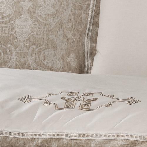 Постельное белье Tivolyo Home EMPERIUM сатин-жаккард бежевый евро, фото, фотография