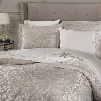 Комплект постельного белья Tivolyo Home FORTUNY сатин-жаккард (кремовый)