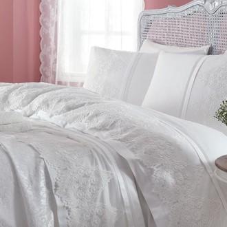 Комплект постельного белья с покрывалом Gelin Home DONNA хлопковый сатин делюкс (кремовый)