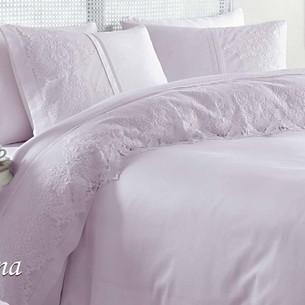 Постельное белье с покрывалом Gelin Home DONNA хлопковый сатин делюкс лиловый евро