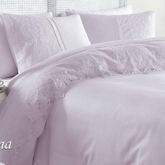 Постельное белье с покрывалом Gelin Home DONNA хлопковый сатин делюкс (лиловый)