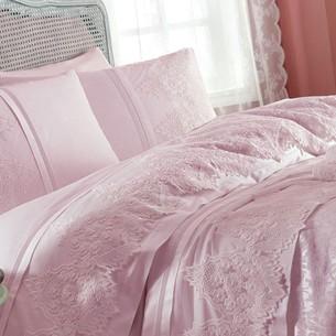 Постельное белье с покрывалом Gelin Home DONNA хлопковый сатин делюкс тёмно-розовый евро