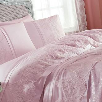 Постельное белье с покрывалом Gelin Home DONNA хлопковый сатин делюкс (тёмно-розовый)