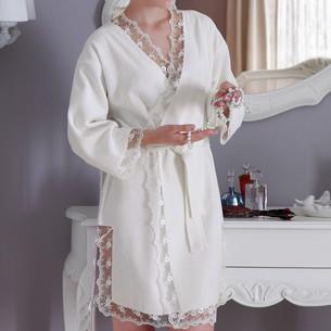 Халат женский с полотенцем Tivolyo Home BIANCA бамбуковая махра белый S/M