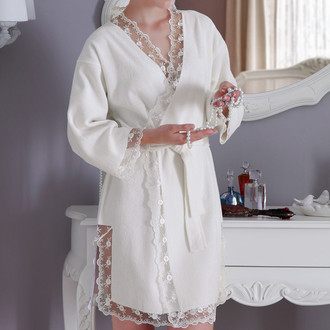 Халат женский с полотенцем Tivolyo Home BIANCA бамбуковая махра белый