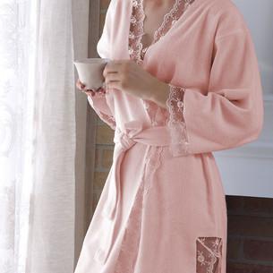 Халат женский с полотенцем Tivolyo Home BIANCA бамбуковая махра розовый S/M