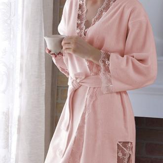 Халат женский с полотенцем Tivolyo Home BIANCA бамбуковая махра розовый
