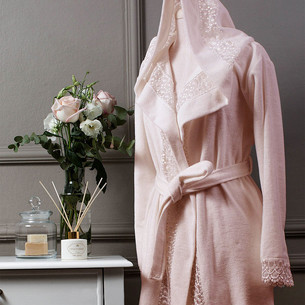 Халат женский Tivolyo Home ISABELLA бамбуковая махра розовый S/M