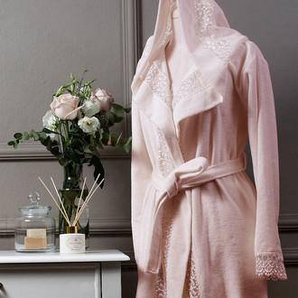 Халат женский Tivolyo Home ISABELLA бамбуковая махра розовый