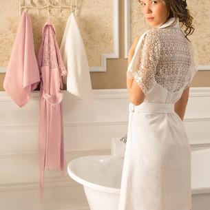 Халат женский с полотенцем Tivolyo Home LINDA бамбуковая махра кремовый S/M