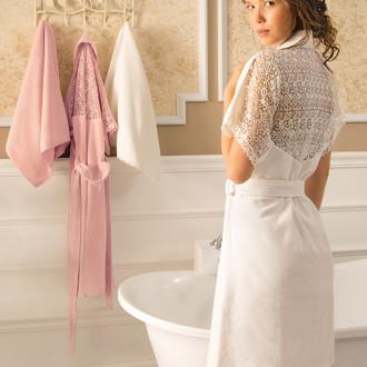 Халат женский с полотенцем Tivolyo Home LINDA бамбуковая махра (кремовый)