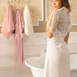 Халат женский с полотенцем Tivolyo Home LINDA бамбуковая махра розовый