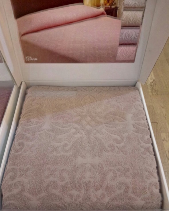 Махровая простынь-покрывало для укрывания Tivolyo Home ALORA хлопок (бежевый) 160*220, фото, фотография