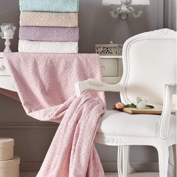 Махровая простынь-покрывало для укрывания Tivolyo Home ALORA хлопок (кремовый) 160*220, фото, фотография
