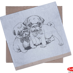 Набор кухонных полотенец Hobby Home Collection PRINT хлопок dogs, светло-коричневый 50х70 2 шт.