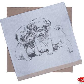 Набор кухонных полотенец Hobby Home Collection PRINT хлопок dogs, светло-коричневый