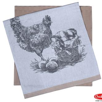 Набор кухонных полотенец Hobby Home Collection PRINT хлопок (hen, светло-коричневый)